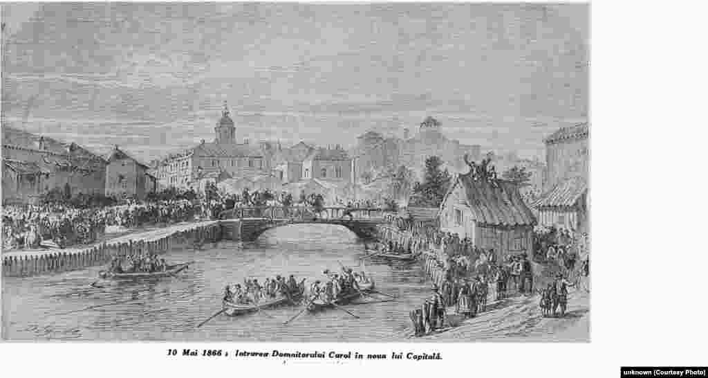 10 Mai 1866. Intrarea lui Carol I în Capitală. Litografie. Arhivele Naționale.