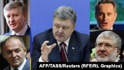 Poroshenko (center) and the oligarchs: Rinat Akhmetiv (top left), Dmytro Firtash (top right), Viktor Pinchuk (bottom left), Ihor Kolomoyskiy (bottom right)