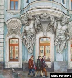Businessmen pass a historic building on Prospekt Mira deep in conversation.