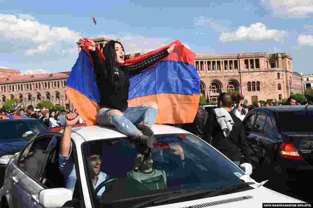 People celebrate in the center of Yerevan.