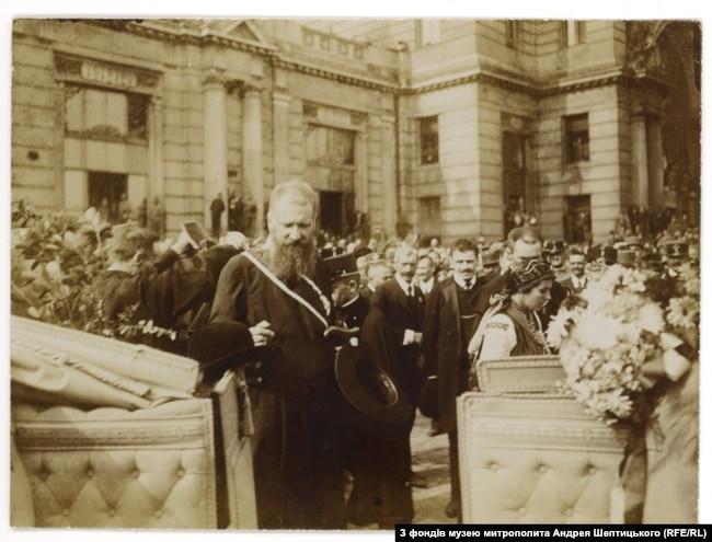 Зустріч митрополита Шептицького у Львові після російської неволі, вересень 1917 рік