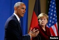 Барак Обама и Ангела Меркель во время пресс-конференции в Берлине