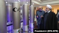 Președintele iranian Hassan Rohani la Ziua națională a tehnologiilor nucleare. Tehran, 9 aprilie 2019