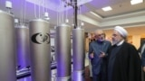 Iranian President Hassan Rohani (right) and the head of the country's atomic technology organisation Ali Akbar Salehi inspect a nuclear facility earlier this year.