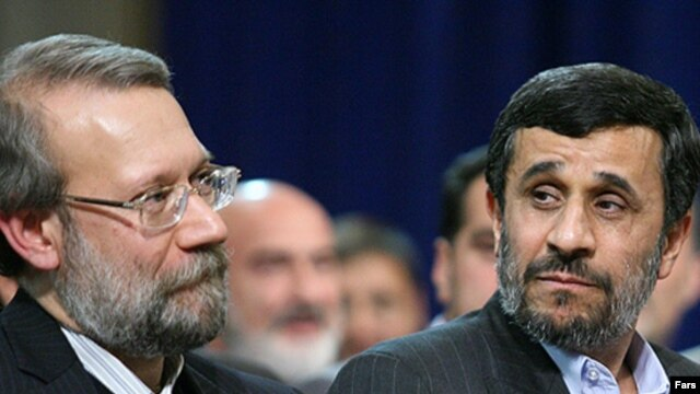 Iran's Parliament Speaker Ali Larijani (left) now has President Mahmud Ahmadinejad (right) in his sights.