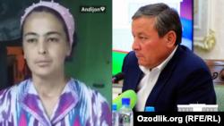 Жительница Андижана Хуршида Тилляева, которую обманули с «президентской квартирой» и хоким Андижанской области Шухрат Абдурахманов.