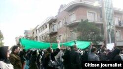 نمایی از تظاهرات معترضان به نتایج انتخابات در روز سیزده آبان در تهران
