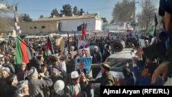 تظاهرات هواداران تیم ثبات و همگرایی در ولایت تخار