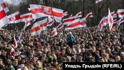 Marshi për Ditën e Lirisë në Bjellorusi.