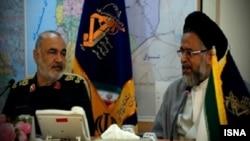 Commander of Revolutionary Guards, Hossein Salami (left) and Iran's Intelligence Minister, Mahmoud Alavi meeting on Sunday, May 05, 2019.