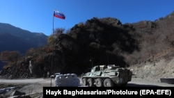 NAGORNO-KARABAKH -- Russian peacekeepers patrol a checkpoint on the road leading to the Dadivank Monastery in the Kalbajar region, November 24, 2020