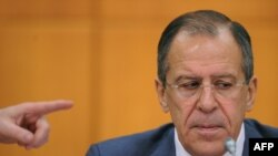 Russian Foreign Minister Sergei Lavrov during his annual news conference in Moscow on January 13