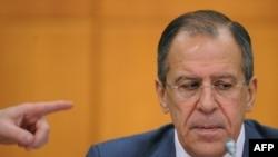 Ministrul de externe rus Sergei Lavrov la conferința de presă de astăzi