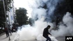 Nga protestat në Tunis, janar 2011.