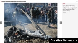 Screen grab of a photo gallery in The Independent that erroneously identified the aftermath of a helicopter crash as the wreckage of a jet fighter.