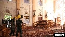 کلیسای سن سباستیان که در انفجار دیروز آسیب دبده