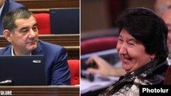 Armenia -- Former parliament deputy Gohar Yenokian (R) and a serving lawmaker Karo Karapetian.
