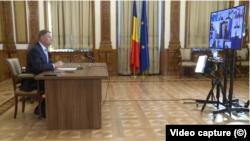 Klaus Iohannis în videoconferință cu guvernul