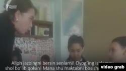 Учительница средней школы №40 в городе Андижане Нигора Маткаримова проклинает двух учеников во время урока. Скриншот с видеозаписи.