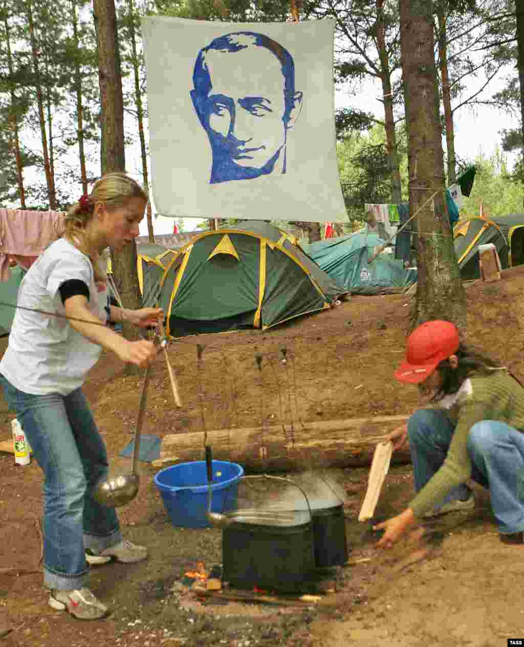 Political Camp - The image of President Vladimir Putin is evident everywhere at the camp.