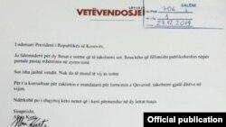 Përgjigjja e Vetëvendosjes për ftesën e presidentit Thaçi