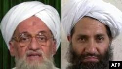A combo photo shows Al-Qaeda chief Ayman al-Zawahiri (left) and Taliban leader Mawlawi Haibatullah Akhundzada.