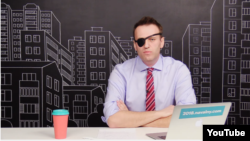Russian opposition leader Aleksei Navalny appears with one eye covered on YouTube.