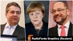 از راست: شولتز، مرکل و گابریل