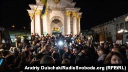 People rally against the Steinmeier Formula on Independence Square in Kyiv on October 1.