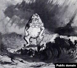 """""""The King of the Auxcriniers"""". Rəsmdə mifoloji varlıq təsvir olunub. Normand adalarında mövcud olan əfsanəyə görə dənizdə bədniyabəd bir varlıq yaşayır (ona su pərsinin kişi ekvivalenti də demək olar), onu görən dənizçilərin gəmisi fırtınaya düşür."""