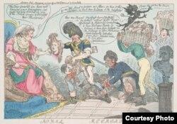 Ангельская карыкатура на Суворава і Кацярыну ІІ. Варшаўская разьня 1795 г.