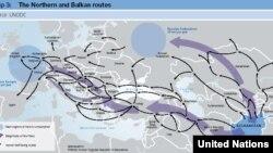 Hartë e UNODC mbi rrugët e krimit në Ballkan.