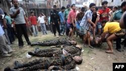 جسد سربازان شورشی در داکا، پایتخت بنگلادش