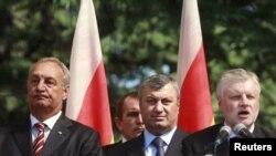 მარცხნიდან: სერგეი ბაღაფში, აფხაზეთის თვითგამოცხადებული რესპუბლიკის პრეზიდენტი, ედუარდ კოკოითი, სამხრეთ ოსეთის თვითგამოცხადებული რესპუბლიკის პრეზიდენტი და სერგეი მირონოვო, რუსეთის დუმის სპიკერი