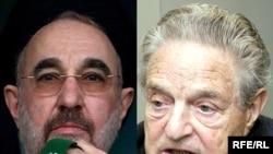 جرج سوروس (راست)، رییس موسسه جامعه باز و محمد خاتمی، رییس جمهور پیشین ایران.