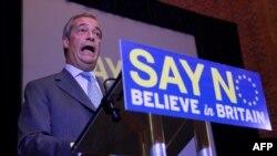 """Найджел Фарадж, лидер евроскептической партии UKIP, известен своей яростной """"антибрюссельской"""" риторикой"""