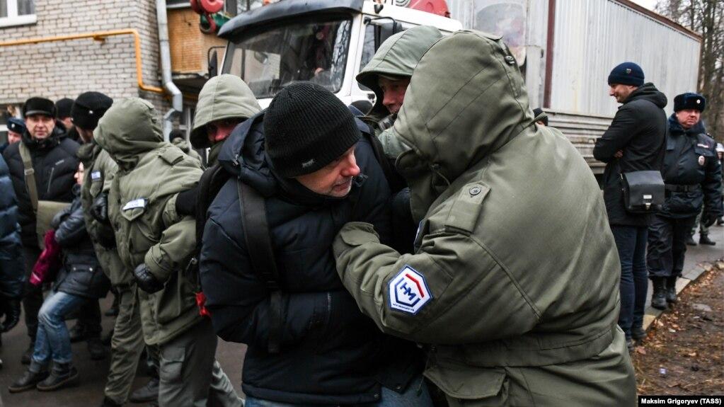 Во время акции протеста жителей района Кунцево против нового строительства