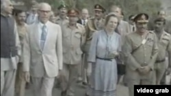 U.K. Prime Minister Margaret Thatcher (center) and Pakistani President Zia-ul-Haq visit the Afghan border in October 1981.