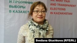 Бывший кандидат в депутаты маслихата города Астаны Фатима Джандосова. Астана, 10 марта 2016 года.