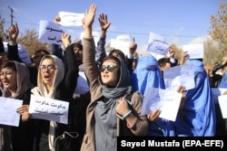 Hazara minority members from the Malistan and Jaghuri districts of the restive Ghazni Province shout slogans against the deteriorating security situation in their resident districts as they arrive in Ghazni city to take refuge on November 15.