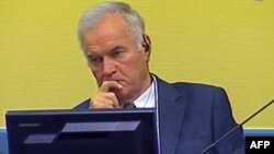 Former Bosnian Serb commander Ratko Mladic listens to the first prosecution witness in the courtroom in The Hague on July 9.