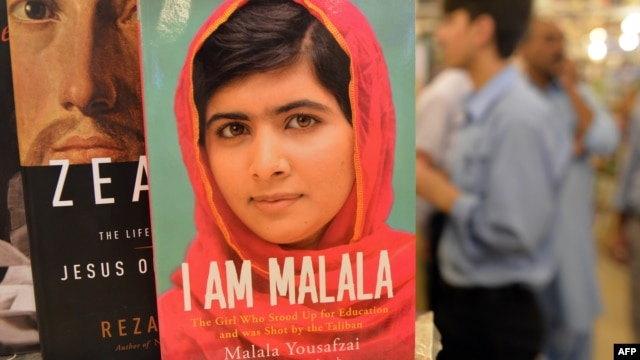 A copy of the memoirs of Pakistani child activist Malala Yousafzai is displayed in a bookstore in Islamabad.