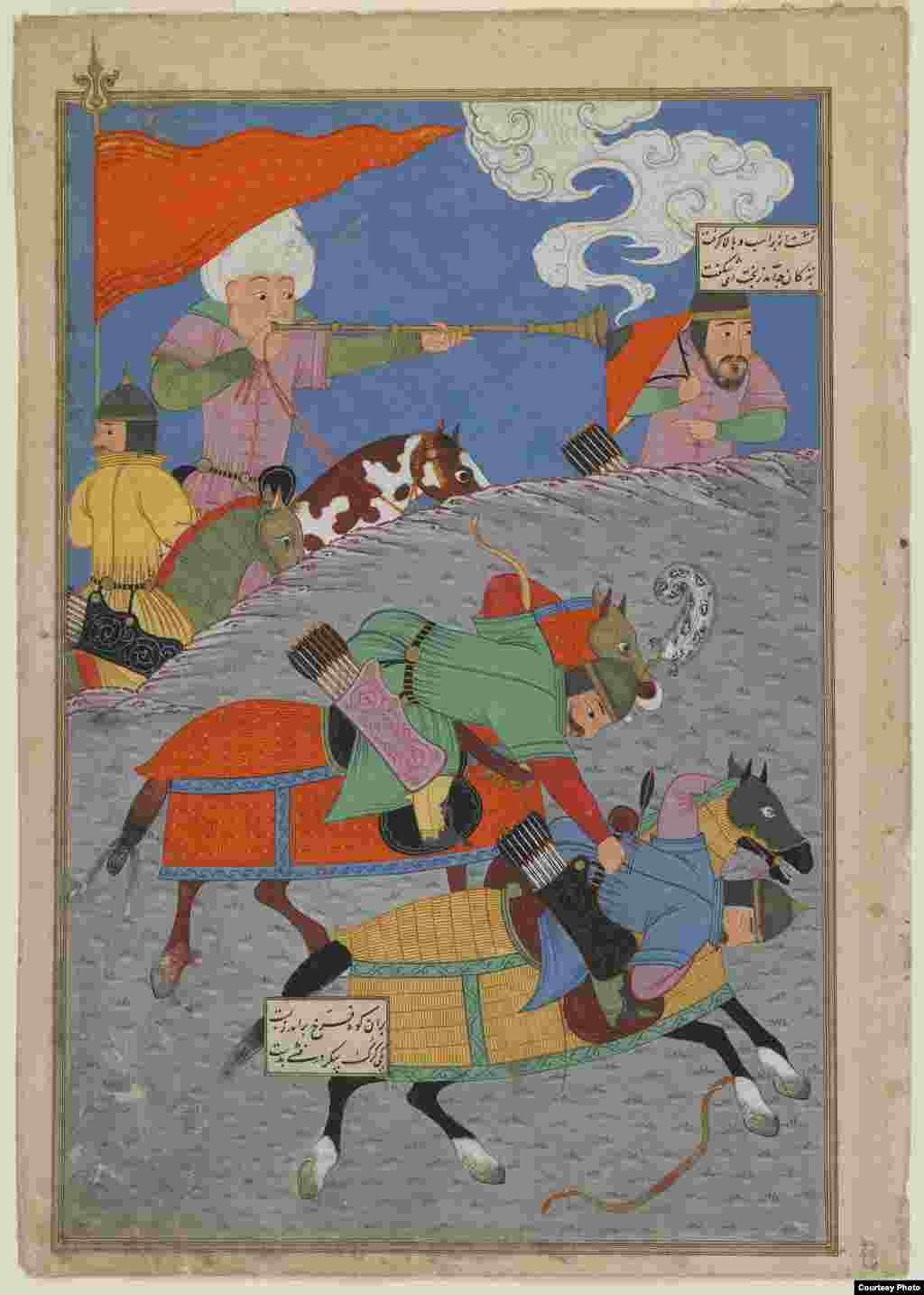 "In 1994, Iran traded a Willem de Kooning nude for hundreds of pages of the prized 16th-century copy of ""The Shahnameh,"" pages of which are on display in the exhibit. ""Battle Between Zanga And Awkhast,"" Gilan, Iran, 1493-1494, from ""The Shahnameh"" (Book of Kings) by Firdawsi Photos courtesy of the Smithsonian Institute, Washington, D.C."