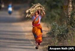 O femeie din India cară lemne de foc după o zi de muncă într-un câmp de orez la marginea orașului Gauhati - 1 februarie 2019