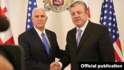 ԱՄՆ փոխնախագահ Մայք Փենսը և Վրաստանի վարչապետ Գիորգի Կվիրիկաշվիլին, Թբիլիսի, 31 հուլիսի, 2017թ.