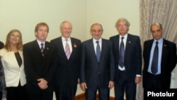 Bako Sahakian, the leader of Nagorno-Karabakh (3rd from R), receives the delegation of the Uruguayan House of Representatives, Stepanakert, 13Nov,2012