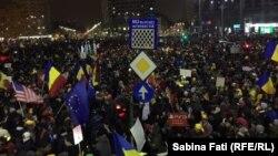 Протести на площі Перемоги у Бухаресті, Румунія, 12 лютого 2017 року