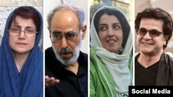 Four of the of prominent Iranians who signed a letter demanding a referendum. (L to R), Nasrin Sotoudeh, Abolfazl Ghadyani, Narges Mohammadi and Jafar Panahi, undated