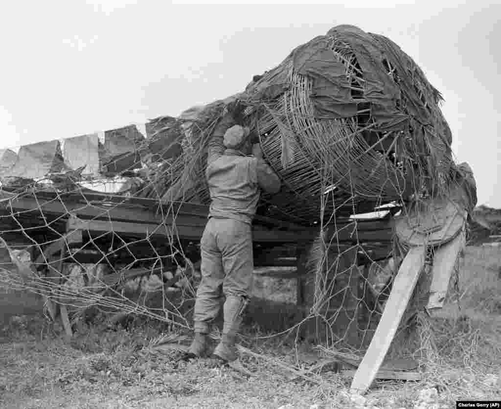 Entire wickerwork fighter planes left behind by retreating Japanese were discovered on Okinawa in 1945.