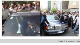 The montage photo showing Jalili's Pride (left) and Rafsanjani's Mercedes